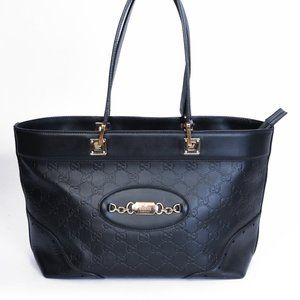 GUCCI GUCCISSIMA BLACK MEDIUM PUNCH TOTE